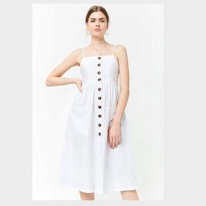 Forever 21 White Button Front Cami Midi Dress